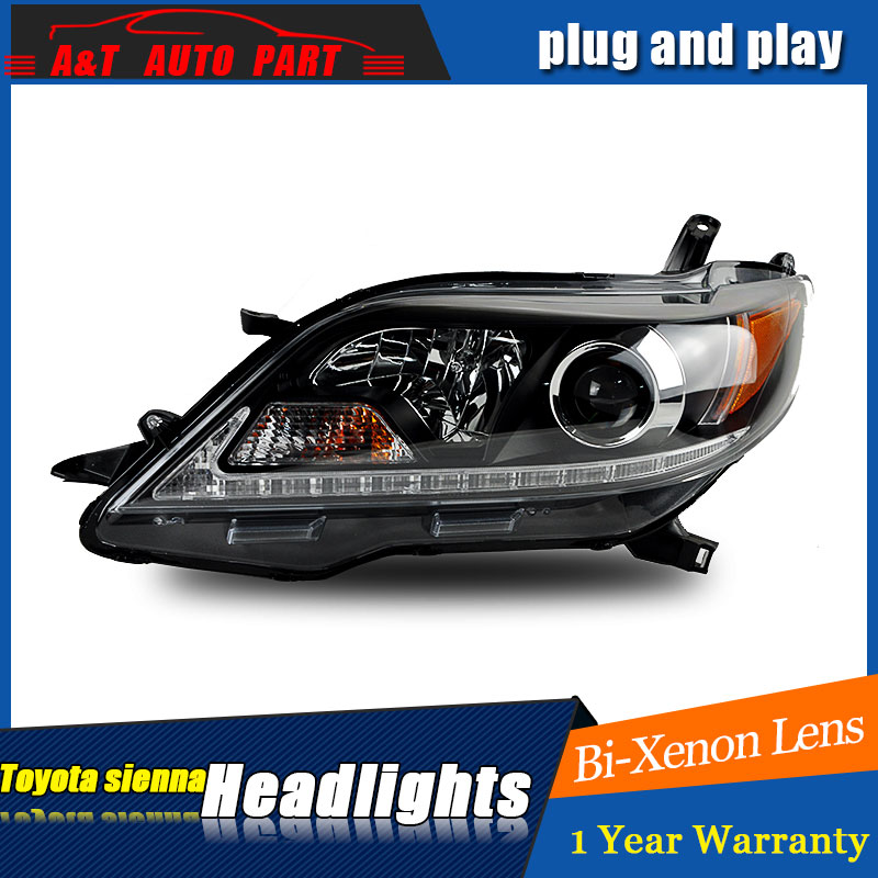 Auto part Style LED Head Lamp for Toyota Sienna led headlights 2011-2015 for Sienna drl H7 hid Bi-Xenon Lens angel eye low beam auto part style led head lamp for bmw 5 series led headlights for 520li 525li drl h7 hid bi xenon lens angel eye low beam