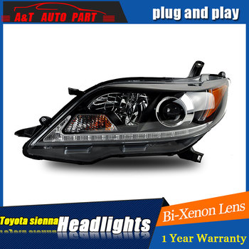 Auto part Style LED Head Lamp for Toyota Sienna led headlights 2011-2015 for Sienna drl H7 hid Bi-Xenon Lens angel eye low beam фото
