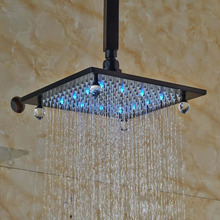 Ceiling Mounted Crystal Style 8 Square Rain Shower Head Top Shower Sprayer Shower Arm Oil Rubbed