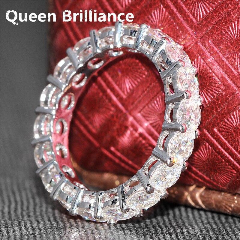 Queen блеск Роскошные 4.5 ct 4 мм F Цвет Обручение обручальное Муассанит Diamond Band для Для женщин SOLID 14 К 585 Белое золото