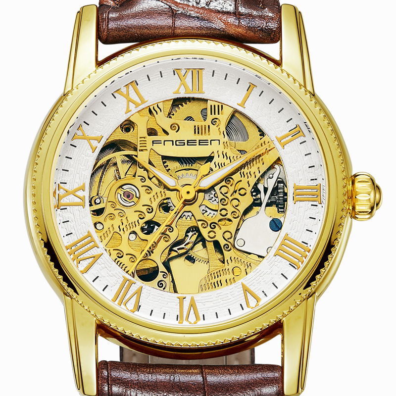 Mechanical Automatic Watches Mens Luxury Brand Wrist Watch Skeleton Leather Watch Gold Wristwatch Waterproof Tourbillon Hodinky mce luxury brand skeleton square mechanical watches leather gold automatic watch men waterproof casual wristwatch reloj hombre