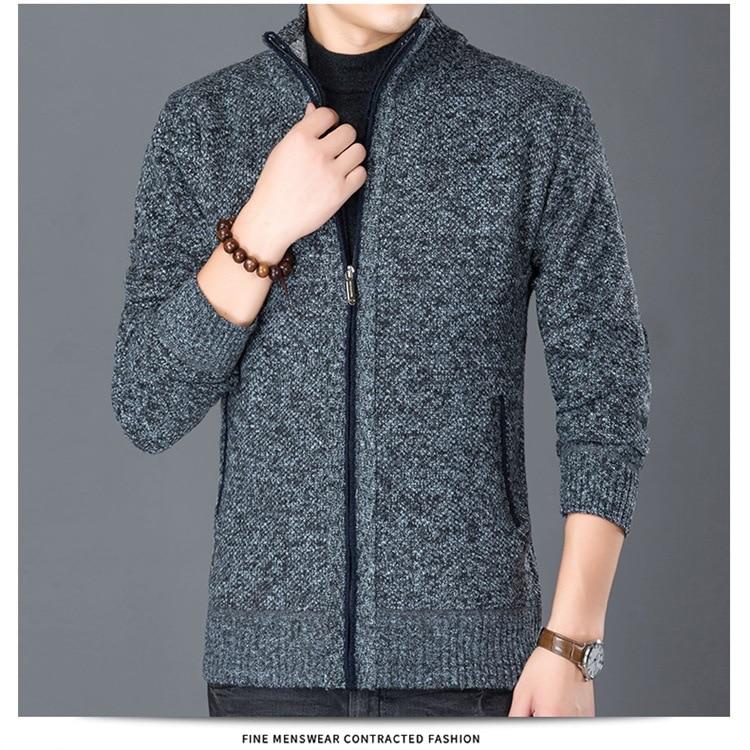 Fashion Wind Breaker Jackets Men Stand Collar Thicken Fleece Jacket Solid Knit Overcoat Cardigan Male Coat Brand Men's Clothing