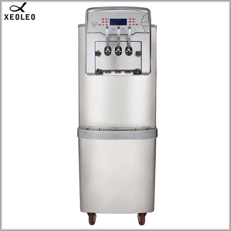 XEOLEO Pasteurization Soft Ice cream machine Pre cooling Ice cream maker 3 compressor Puffing pump&Hopper mixer Dual system