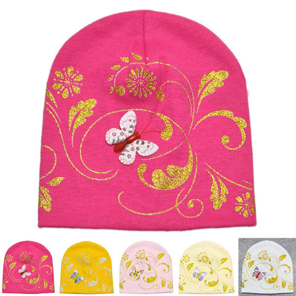 dc0127bdd76 Embroidery Butterfly Printed Baby hat Newborn Elastic Skull Beanie Cap  Toddler Infant Cotton Beanie Hat 5 Colors SW006