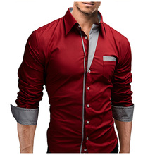 2018 Dress Shirts Mens Brand Casual Shirt Cotton Slim Fit Chemise Long Sleeve Shirt Men Casual Red Shirt Plus Size XXXL A53 dress shirt men slim fit style boys casual shirt mens long sleeve grid stripe cotton classic designer brand hawaiian clothes