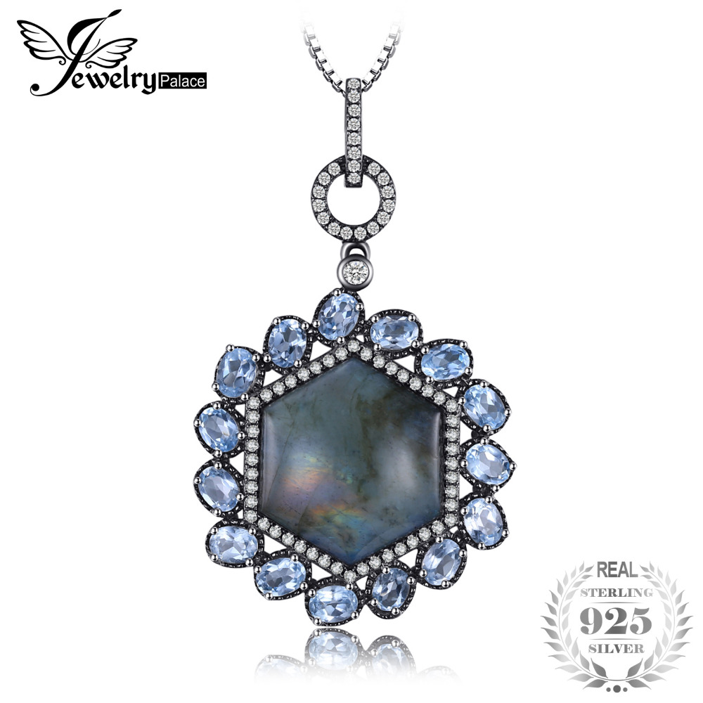Jewelrypalace lujo 17.5ct labradorita genuina Topacio azul cielo negro oro colgante 925 plata esterlina no incluye cadena