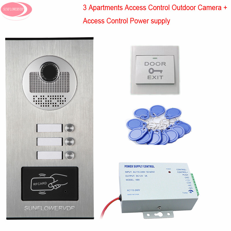 For 3 Different Apartments Video Camera Doorphone Rfid With Access Control Power Supply Video On The Door CCD Outdoor Camera ccd lens outdoor camera video door phones intercom systems door bells with 10 buttons for 10 apartments hd camera drop ship