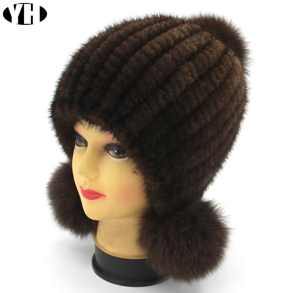 New Fashion Women Real mink Fur Hat Natural mink fur Beanies Fur Caps Fashion lady Elastic Hat Winter Skullies fox fur pom poms-in Women's Skullies & Beanies from Apparel Accessories
