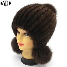 New Fashion Women Real mink Fur Hat Natural mink fur Beanies Fur Caps Fashion lady Elastic Hat Winter Skullies fox fur pom poms
