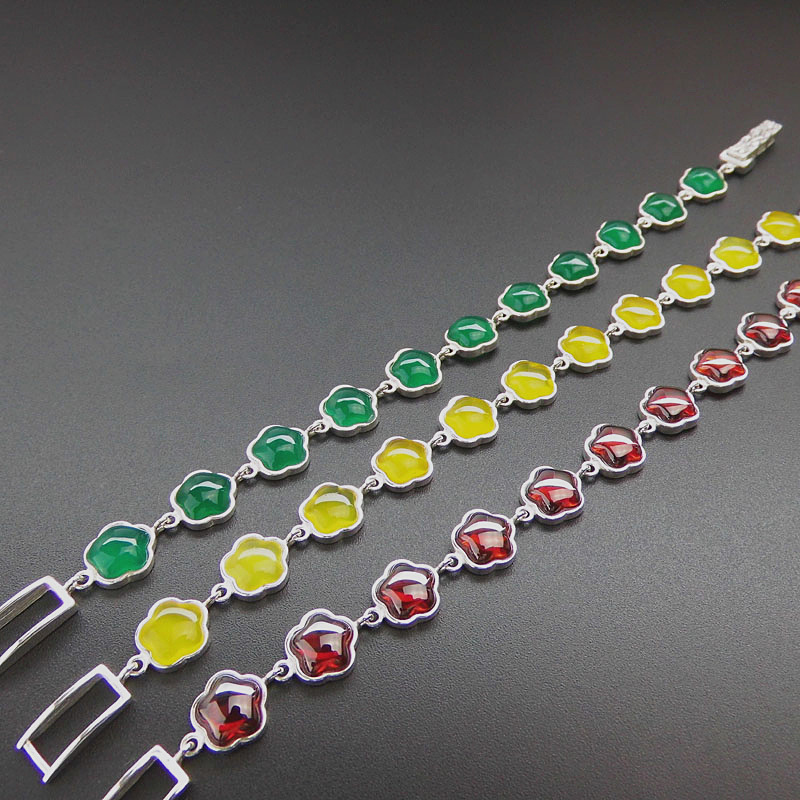 FNJ 20cm Bracelets Synthetic Garnet Blue corundum 925 Sterling Silver Natural Green Yellow Stone S925 Thai Silver Chain Bracelet