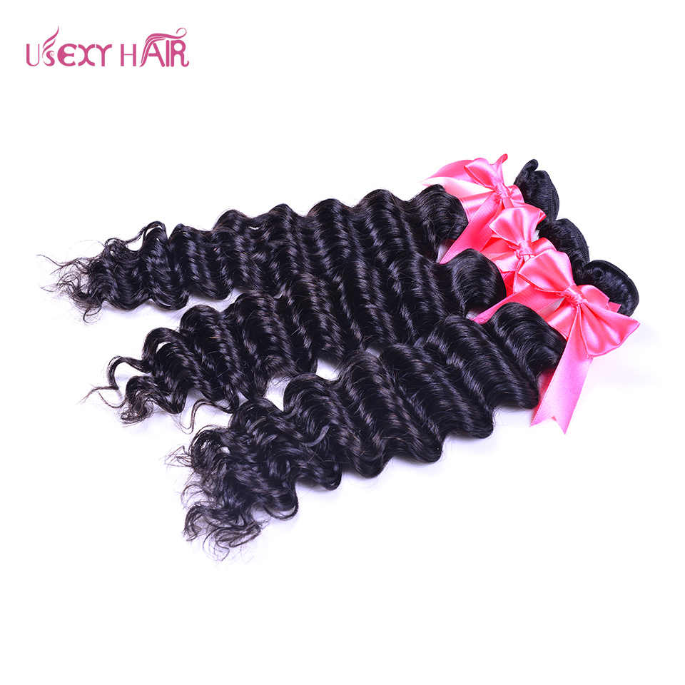 USEXY волосы глубокая волна бразильские волосы переплетения пучки 100% человеческие волосы пучки натуральный цвет 1/3 шт remy наращивание волос
