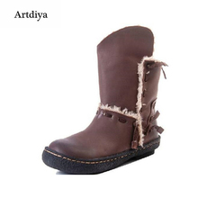 2015 winter casual low-heeled snow boots cowhide handmade patchwork genuine leather ankle female thermal womens