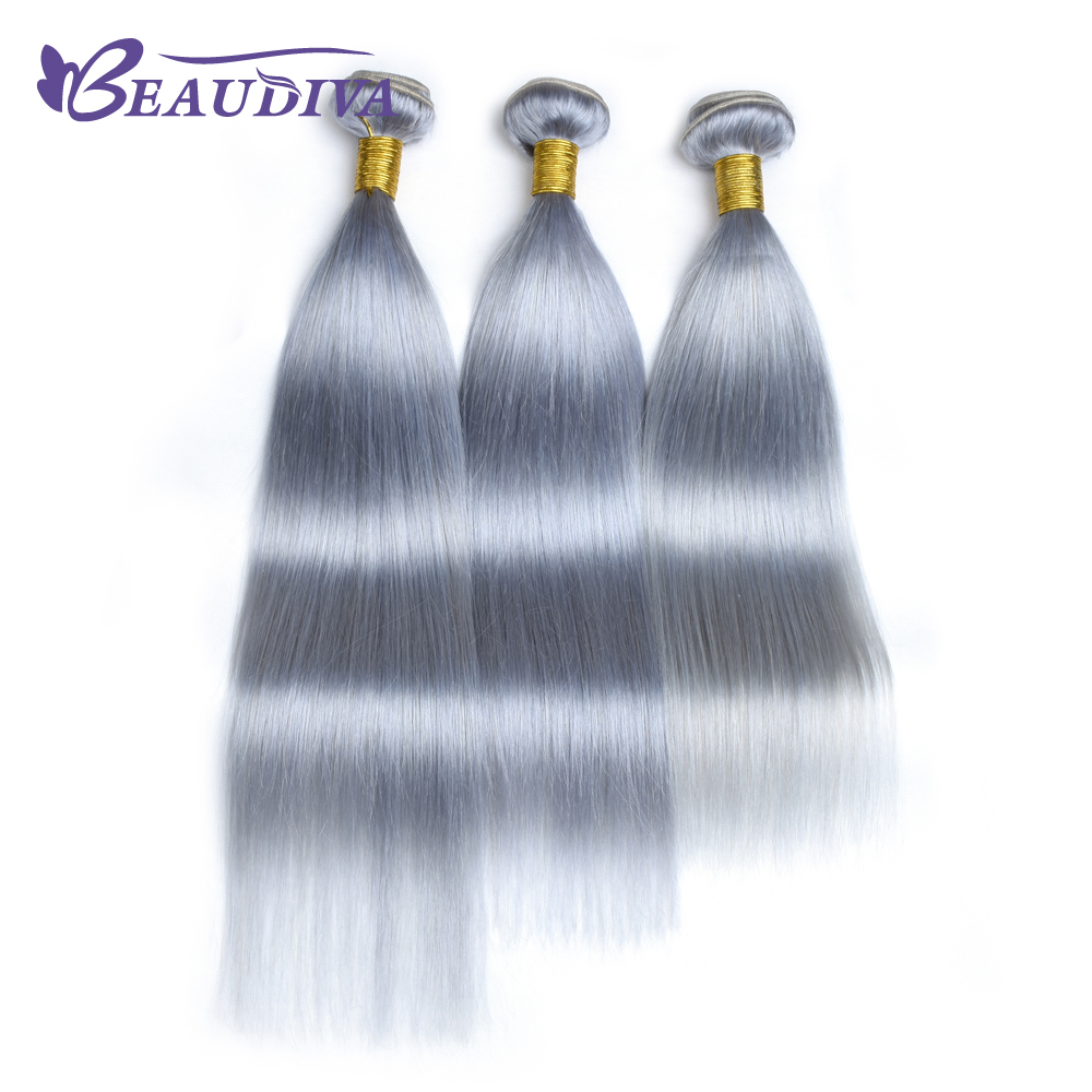 BEAUDIVA Pre-Colored Gray Color Remy Hair Straight 3 Bundles Lot Ombre Human Hair Extensions Weave Bundles
