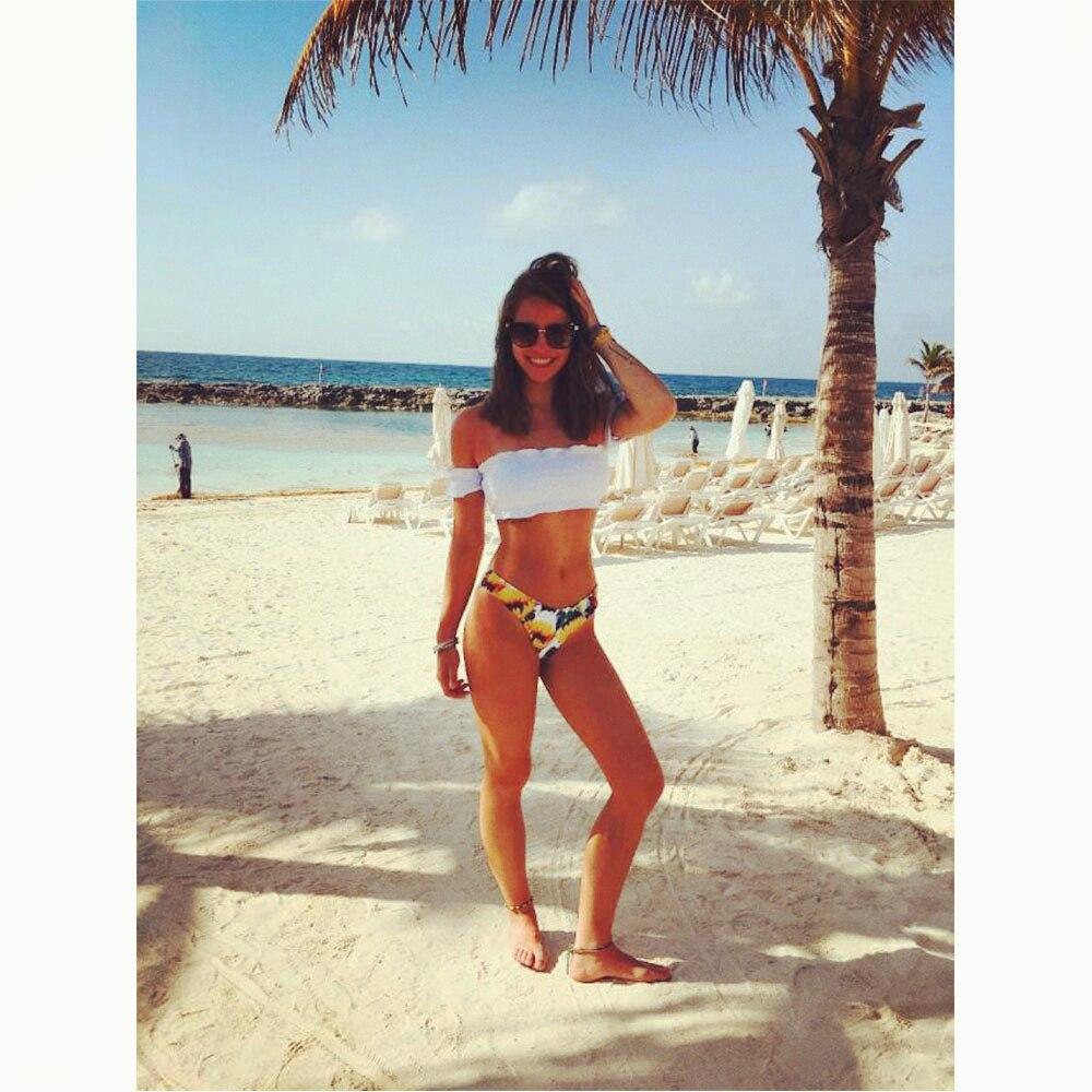 ZAFUL Off Shoulder Sunflower Bikini Swimwear Bathing Suit Push Up Women Swimming Suits Biquini Beach Wear Maillot De Bain Femme