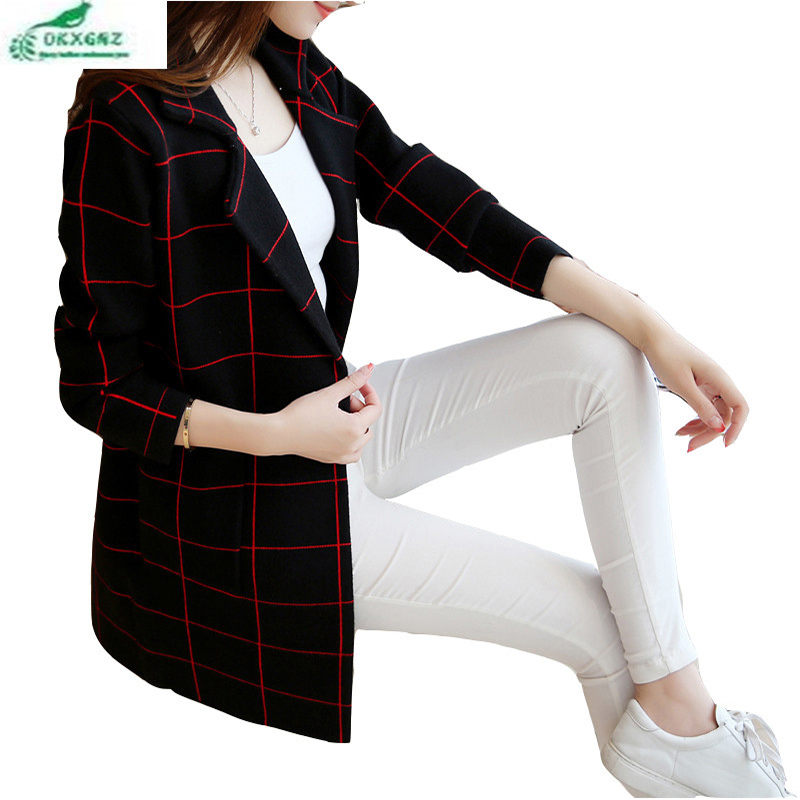 Spring autumn new knitted cardigan Outerwear female medium long pattern lattice stripes knitted coat Women clothing