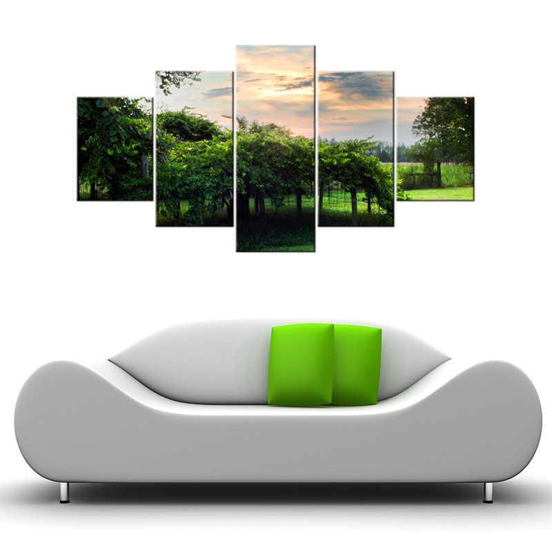 5 Sztuk Zielony Las HD Blejtram Malarstwo Grafika Nowoczesne strona główna Dekoracje Ścienne Na Płótnie Art HD Obraz Na Płótnie oprawione