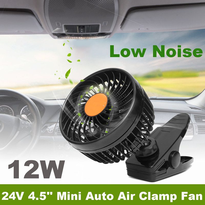 24V ABS 4.5Inch Mini Auto Air Cooling Fan w/ Clamp Adjustable Low Noise For Car Truck Tent RV SUV ATV Van Cab