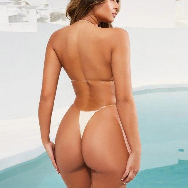 Summer Sexy Bikini Sexy Push-Up Padded Lace Up Swimwear Push Up Beachwear Set Two Piece Swimsuit Beachwear Open Back Suit 2