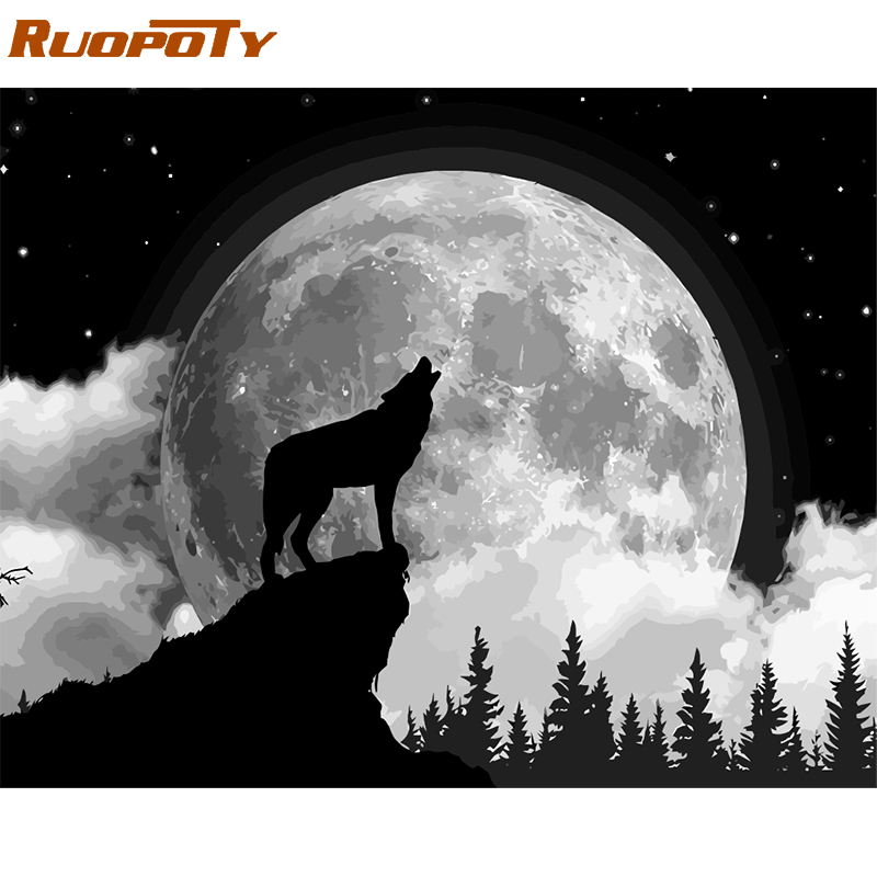 Best Product  RUOPOTY Frame DIY Painting By Numbers Moon Wolf Picture By Numbers Acrylic Paint On Canvas Handpain