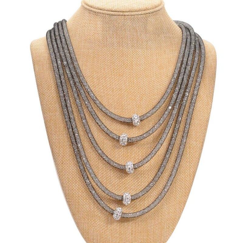 Collier en cristal avec pave Charme déclaration tissé plein minuscule résine collier en cristal pour les femmes cadeaux N1417
