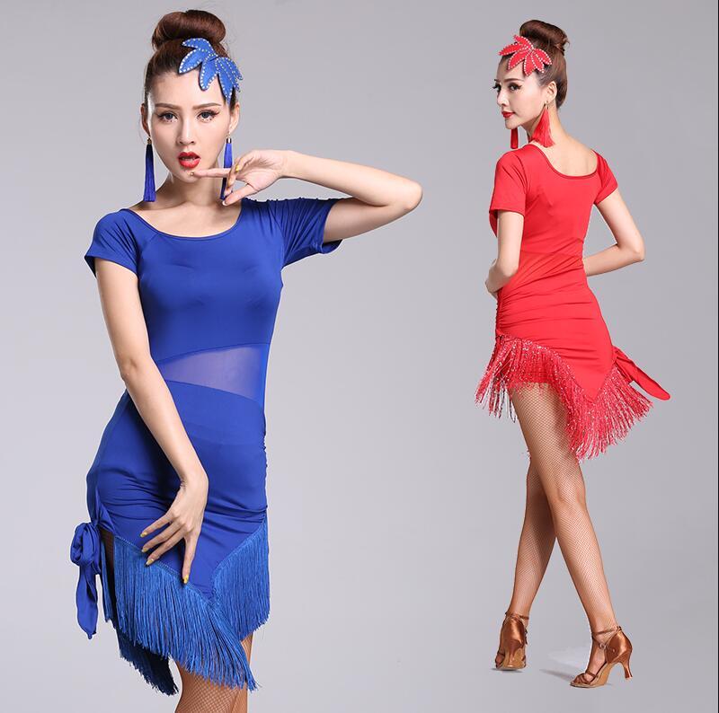 New Latin Dance Dresses Women/Girls Sexy Sequin Fringe Skirt Ballroom/Tango/Salsa/Rumba/Latin Dresses Clothes