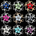 High Quality Pomotion Romantic Plant Alloy  Imitation Pearl Rhinestone Brooch Wedding Accessories Mother's Day For Women Gift
