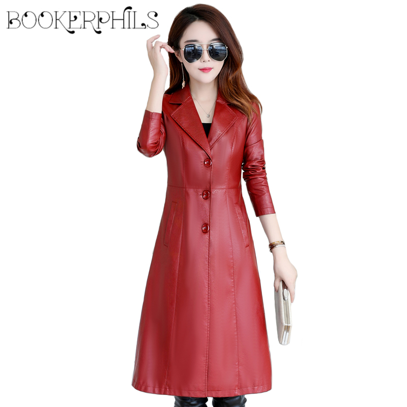 Long Leather Jacket Women Winter Autumn 2019 Elegant Slim Ladies Washed PU Leather Trench Coats Female
