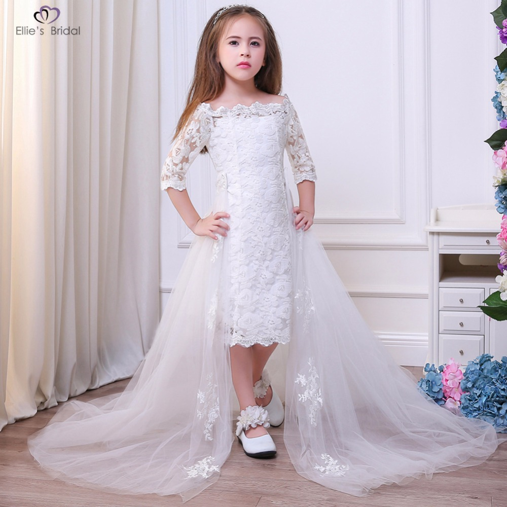 Wedding Dresses With Detachable Tail: Ellies Bridal 2018 Girl Lace Dress Girl Wedding Dress