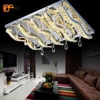 New Modern Luxury LED Crystal Chandeliers Light L90 W70 H30cm Lustres De Cristal Lamp Remote