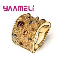 Высококлассные женские и мужские кольца на палец, Тяжелые Широкие кольца, массивные мужские ювелирные изделия, 925 пробы, серебро, многоцветные, фианит, кристалл, Bague