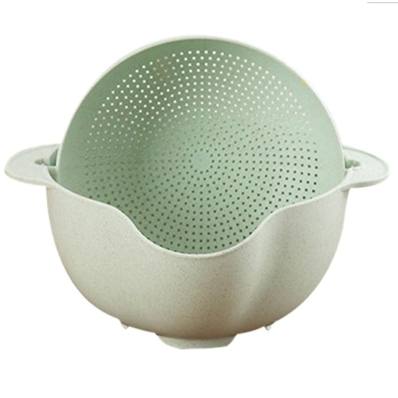 Washing Basket Double Drain Basin Sink Washing Rice Bowl Fruit Tray Drain Basket Wash Rice Basket Kitchen Strainer Noodles Veg