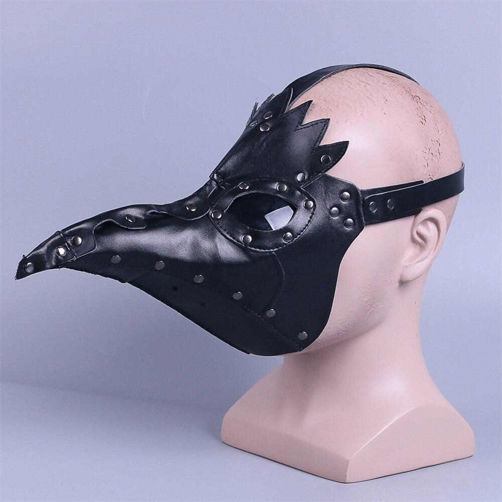 plague doctor mask Beak Doctor Mask Long Nose Cosplay Fancy Mask rivet Gothic Retro Rock Leather Halloween beak Mask