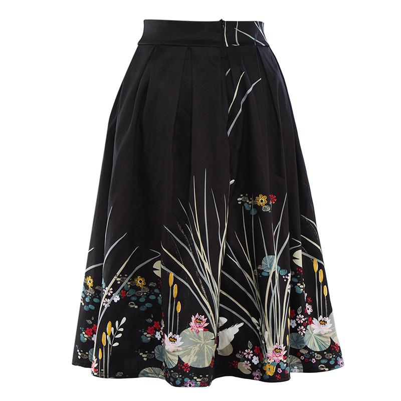 Kostlish 2017 Retro Print Summer Skirts Womens High Waist 50s Vintage Midi Skirt Elegant Slim Big Swing Women Skirt Plus Size (14)