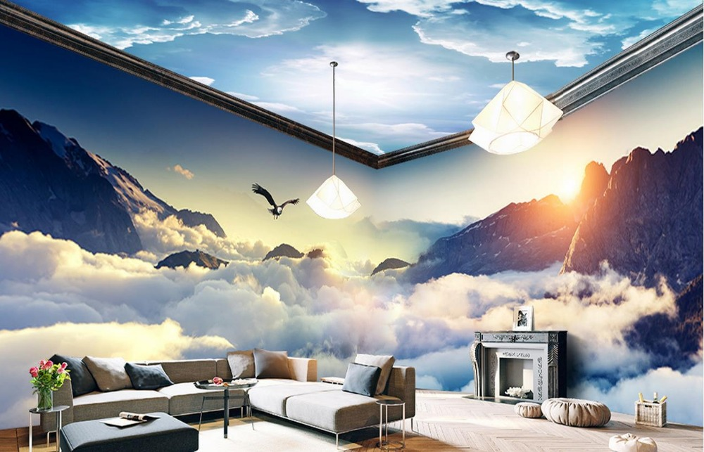 Custom dream clouds and mountains 3d wallpaper living room for Cloud wallpaper mural