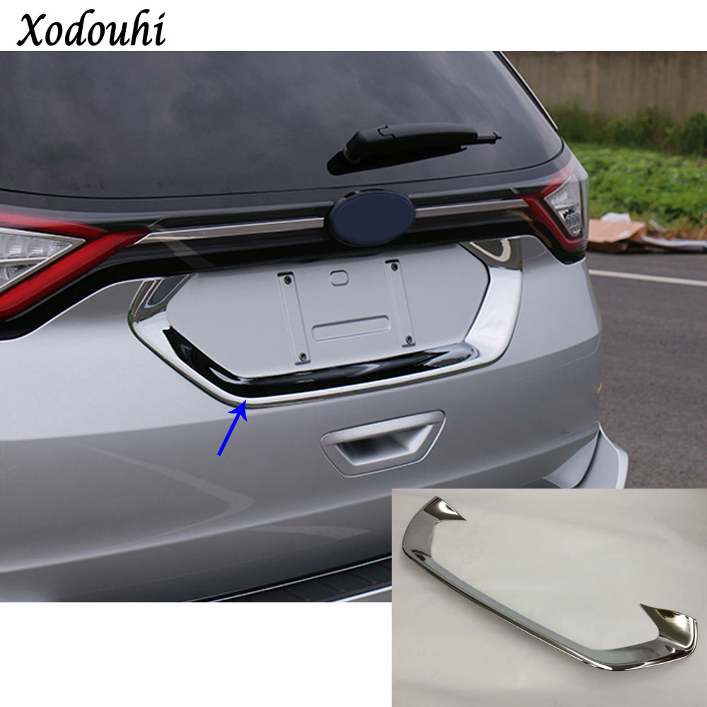 For Ford EDGE 2015 2016 2017 2018 Car styling stick detector ABS chrome back Rear license frame plate trim Strip bumper hoods