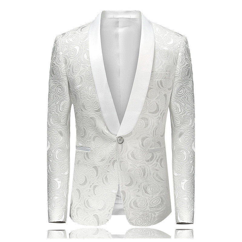 2018 Blazer Slim Fit Masculino Abiti Uomo Botton Wedding Prom Blazers Single button White For Men Stylish Suit Jacket 4XL EM061(China)