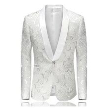 Приталенный Блейзер Masculino Abiti Uomo Botton Свадебные выпускные блейзеры с одиночной пуговицей белый для мужчин Стильный костюм куртка 4XL EM061