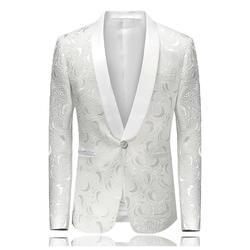 2018 Блейзер Slim Fit Masculino Abiti Uomo боты Свадебные Пром блейзеры с одиночной пуговицей белый для мужчин стильный пиджак 4XL EM061