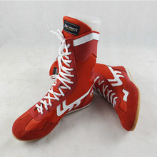 Boxing martial arts Taekwondo Sanda training special high-cut boxing training fighting wrestling shoes JINBEILE 2017 new 3 colors professional boxing shoes authentic wrestling shoes for men training shoes tendon at the end leather sneakers