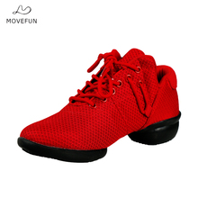Movefun Breath Modern Dance Shoes Woman Hip Hop Jazz Practice Shoes Black Girls Soft Sole Dance Sneakers Square Dancing Shoes 88
