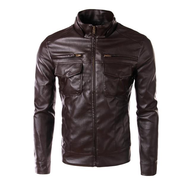 New Arrival Men PU Jackets Fake Zipper Design  motorcycle leather jackets men men's leather jacket  jaqueta de couro masculina