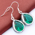 Super fashion accessories high quality romance green Synthetic topaz Silver Plated Earings for women wedding crystal earrings