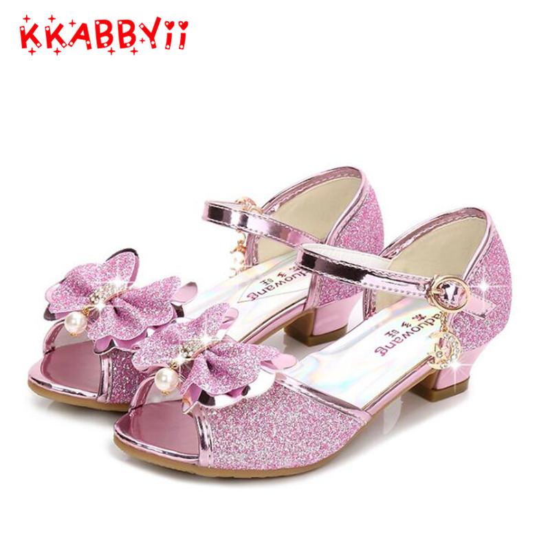 Purple sandals for girl summer high heels gilr childrens blue pink shoes sandals Princess cute fashion bow student 5 colors ...