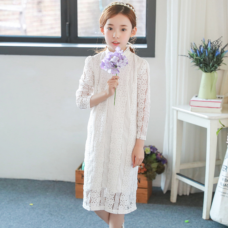 lace princess girls dresses knee length autumn kids clothes party teenage baby girl dress long sleeve white  clothing for girls lace party big baby girl dress long sleeve autumn cotton bow red white princess dress kids baby girl dress children clothing