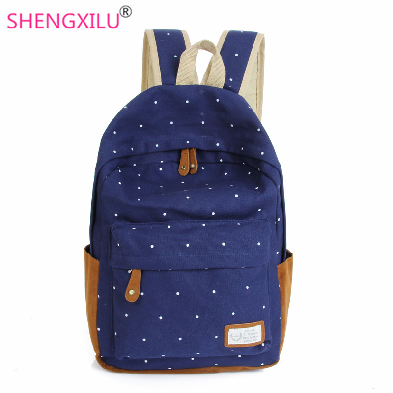 Shengxilu candy color canvas women backpacks fashion trend casual girls school bags dot printed backpack shoulder bag mochila
