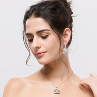 fashion flower charm necklace and earring wedding jewellery set bridal jewelry