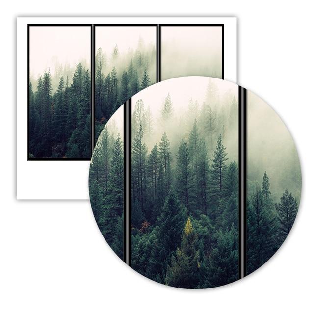 Affiches imprimées et imprimés de forêt   Photographie de forêt, brume verte, forêt brumeuse, toile dart murale