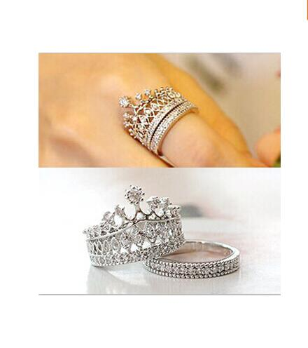 Fashion 2017 top quality crystal rhinestone crown ring for Luxury gift for women