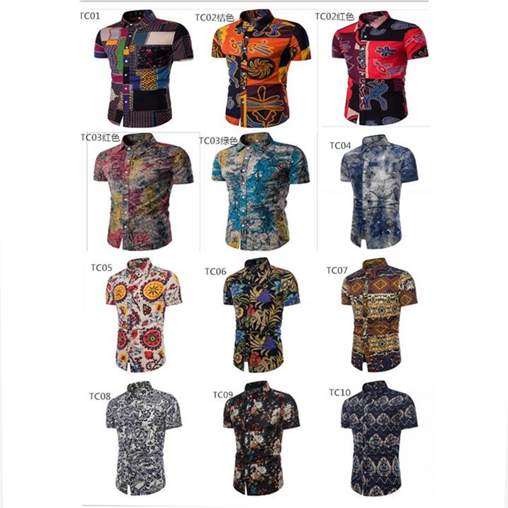 Men 39 s Casual Shirts Short Sleeve 2018 Summer Hawaiian Shirt Skinny Fit with Various Pattern Man Big Sizes Clothes M 4XL 5XL in Casual Shirts from Men 39 s Clothing