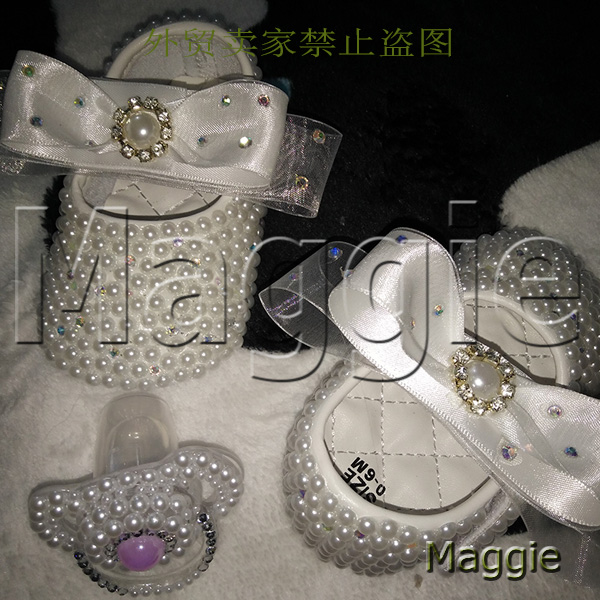 free shipping ribbon rhinestone baby Shoes pacifier handmade pearls baby toddler bling lovely fashion crystal child girl shoes